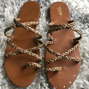 Mossimo Supply Co. brown & gold braided sandals
